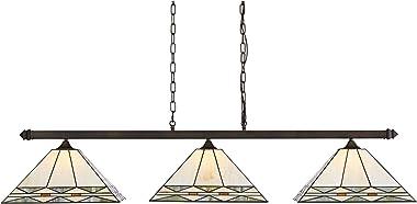 "Pleske Bronze Large Linear Island Pendant Chandelier 56"" Wide Tiffany Style Mission Square Art Glass 3-Light Fixture for Kitc"