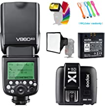 Godox V860II-O TTL GN60 2.4G High-Speed Sync 1/8000s Li-ion Battery Camera Flash Speedlite with X1T-O Wireless Trigger Transmitter Compatible for Olympus Panasonic & 15x17cm Softbox &Filter & USB LED