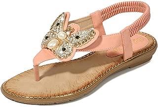 Women's T-Strap Beaded Flat Sandals Bohemian Rhinestone Summer Beach Flip Flops Shoes
