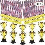 FEPITO Medaglie da Trofeo da 30 Pezzi Set da 10 Pezzi Trofeo plastico in Oro e medaglie da...