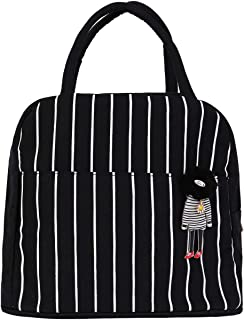 HOMESPON Reusable Lunch Bags Printed Canvas Bag Grocery Bag Handbag Insulated Lunch Tote For Women, Kids, Students,Adults To School, Work, Shopping, Camping,black& white stripe