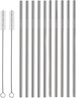 Set of 10 Stainless Steel Straws, HuaQi Straight Reusable Drinking Straws 10.5'' Long 0.24'' Dia for 30 oz Tumbler and 20 oz Tumbler, 2 Cleaning Brush Included (10 Straight Straws + 2 Brushes)