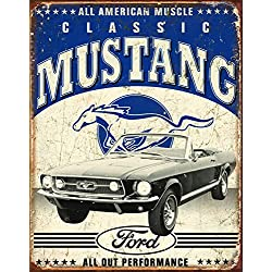Desperate Enterprises Classic Ford Mustang Tin Sign, 12.5 W x 16 H