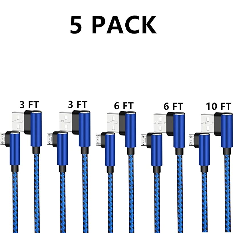 Micro USB 2.0 Android Cable, DECVO Right Angled Fast Charging Cord 90 Degree Reversible Micro Connector Braid Compatible with Sumsung Galaxy, Nexus, LG, Motorola More -Blue (5 Pack 3 3 6 6 10 FT)