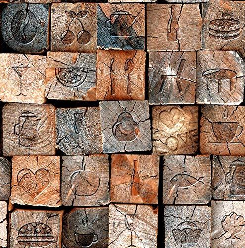 Behang 3D vliesbehang, vlies, vintage, nostalgisch, houtnerf, textuur, houten palen, Barbier- restaurant stereo achtergrond 200 * 140