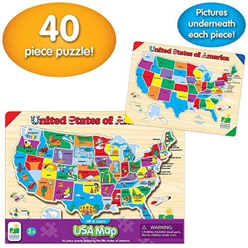 The Learning Journey Lift & Learn Puzzle – USA Map – Preschool Toys & Gifts...