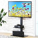FITUEYES Soporte Giratorio de TV de 32 a 65 Pulgadas con 2 Estantes Soporte de Suelo para Televisión LCD LED OLED Plasma Plano Curvo