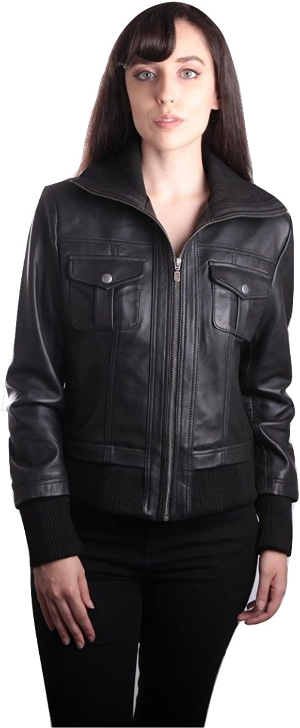 Fadcloset Bailey Womens Leather Bomber Jacket