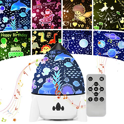 Night Light Projector for Kids - Star Light Projector for Bedroom, 7 Lighting Modes Mood Lights for Baby Boys Girls Teens Adults Children Room, with Remote Control and 8 Sets of Film