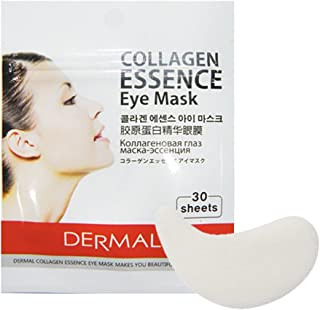 DERMAL Collagen Essence Eye Mask of 30 Sheets/Hypoallergenic Moisturizing & Brightening Eye Patches/Reduce Eye Rim & Dark Circles / (4 Pack)