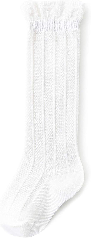 Baby Girl Knee High Socks Toddler Tube Ruffled Stockings Infants Cotton Cable Knit Long Socks for Unisex