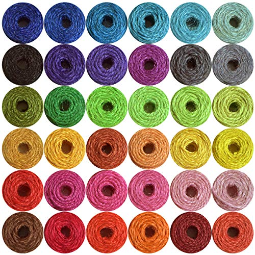 Natural Jute Twine-Gift Twine-Valentine Gift Twine-Durable Packing String- Christmas Twine -2 ply Twine Jute String Rope- 36 Colors (1200 FEET) for Artworks, DIY Crafts, Decoration, Bundling
