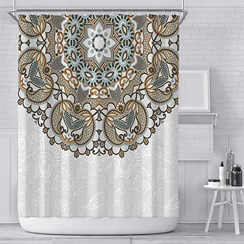 KYFY Mandala Floral Shower Curtain Set Bohemian Floral Printed Bath Curtain Set Light Gray Vintage Luxlury Waterproof Bathroom Curtain Europe Shower Curtain with Hooks 72x72 Inches