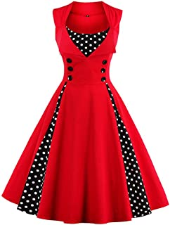 Women's Rockabilly Vintage Polka Dot Fit and Flare Swing Cocktail Dress