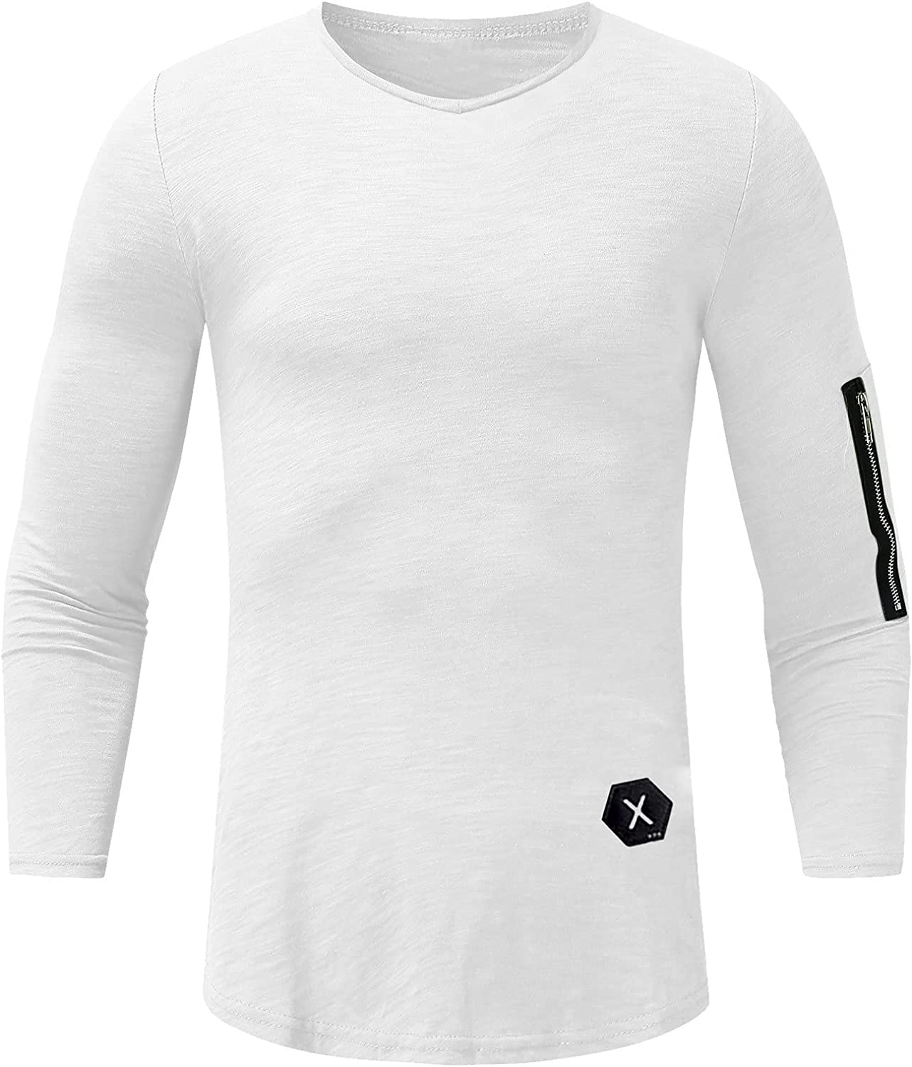 Men's Autumn/Winter Slub Cotton Arm Zipper With Label V-Neck Long-Sleeved Tops Stretchy Comfortable Shirts