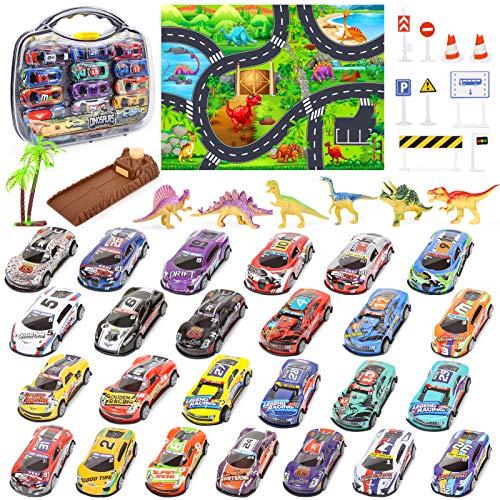Petite Voiture Mini Voiture de Course avec Jouets de Dinosaures, Tapis de Jeux, Lanceur de Vitesse et Étui de Transport pour Enfants 43 Pièces