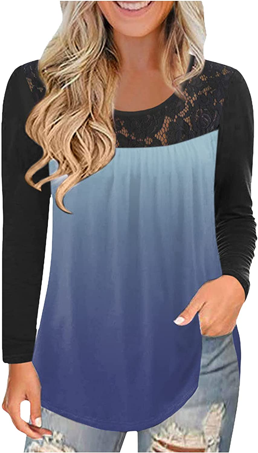 Womens T Shirts Short Long Sleeve So Direct stock discount Trim Tops Tunic Casual Year-end annual account Lace