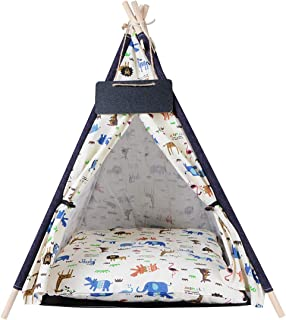PENCK Pet Teepee Tents with Cushion Dog & Cat Bed - Portable Puppy Tents & Pet Houses with Blackboard, 23.6 Inch Tall, for...