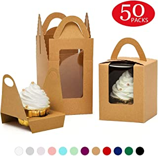 Yotruth Brown 50 Pack Indivdual Cupcake Boxes Cardboard Paper with Insert (Typical Series)