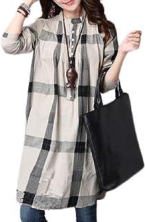 Comaba Womens Long-Sleeve Cotton Linen Plus Size Plaid Shirt Blouse
