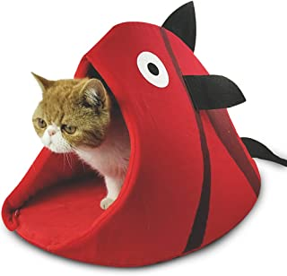 Petgrow Novelty Cat Bed House Decorative Fish Shaped Large Size, Cozy Comfy Pet Bed Cave for Cats Small Dogs,Kitten Puppy Cute Bed Cuddle,Red