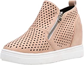 🌟 Sherostore 🌟 Women's Boots,Platform Sneakers Side Zipper Faux Suede Perforated Ankle Booties Sole Hollow Ankle Flat
