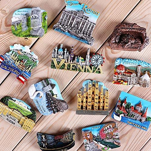imanes de Nevera 1pcs Magnetic Refrigerador Imanes Italia Suiza Chile Países Europeos Países Europeos Atracciones Turísticas Souvenir Decoración Hogar