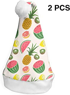 Santa Claus Hat Watermelon Summer Fruits Merry Christmas Hats Adults Children Costume Xmas Decor Party Supplies (2-Pack)