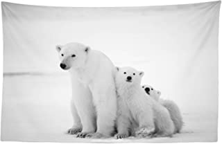 Lunarable Sea Animals Tapestry, Polar Bear Family with 2 Small Bear Cubs Around The Snow Cold Winter North, Fabric Wall Hanging Decor for Bedroom Living Room Dorm, 45