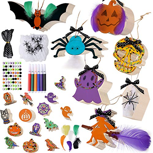 Pllieay 170 piezas de 15 estilos de Halloween de madera sin terminar adornos de Halloween con cinta, ceras, pegatinas de diamante y plumas para Halloween DIY decoración del hogar