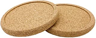 Geobom Natural Lip Cork Coasters for Drinks with Grooved Round Edge Set of 2 Absorbent Heat & Water Resistant Reusable Dur...