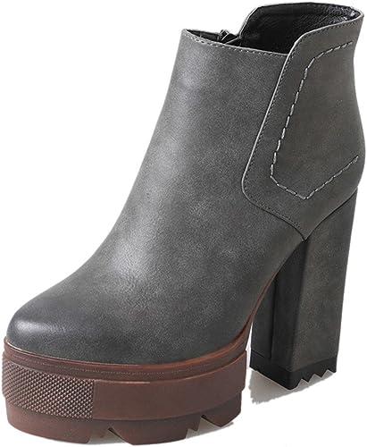 HBDLH HBDLH HBDLH chaussures DA femmes 12cm Talons Hauts Martin Bottes Femme Hiver étanche à l'eau de Table épais et de Courtes Bottes Rigide en Bas Court Bottes. eda