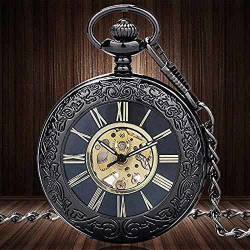 huangshuhua Steampunk Elegante Esqueleto Reloj de Bolsillo para Hombre con Collar de Escala Romana Vintage Retro mecánico Transparente
