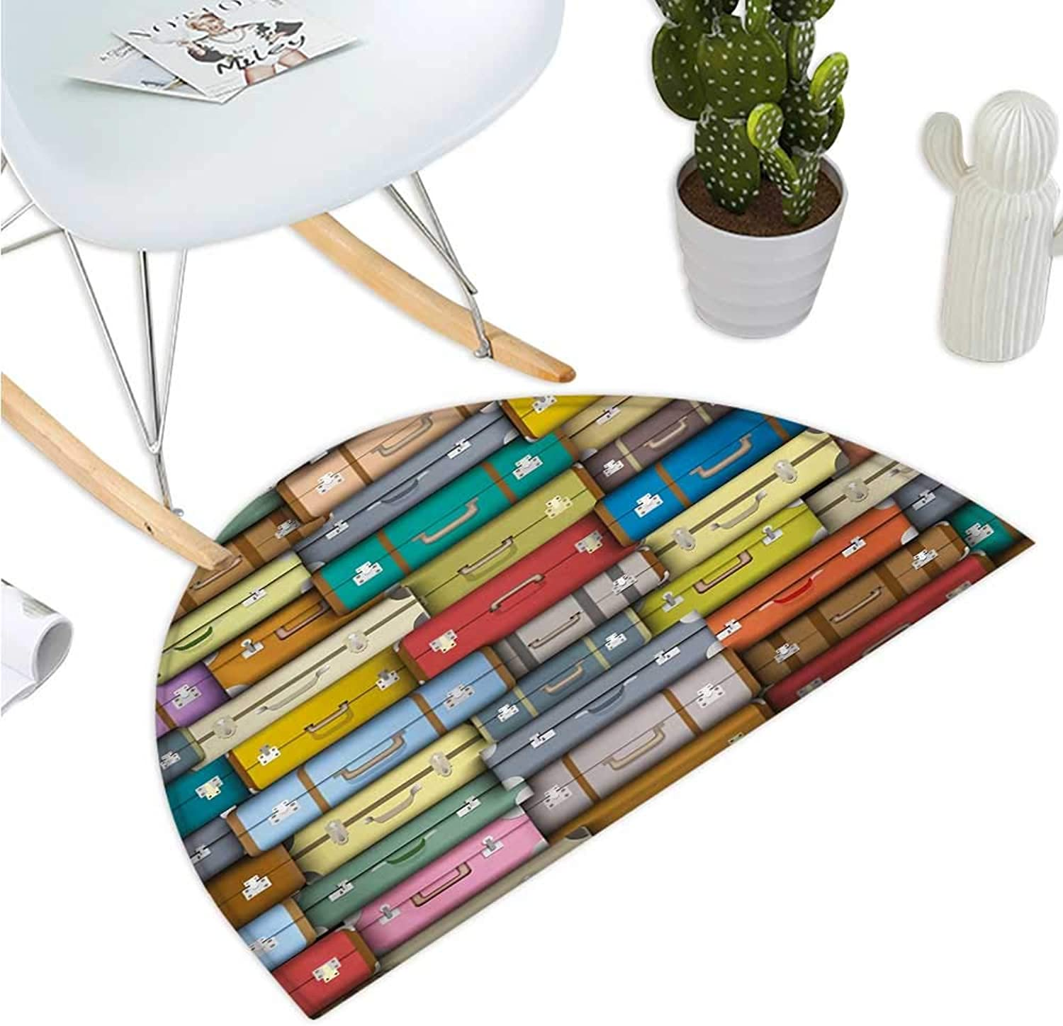 Modern Semicircular Cushion colorful Suitcases Background Vintage Travel Voyage Holiday Themed Artful Design Entry Door Mat H 39.3  xD 59  Multicolor
