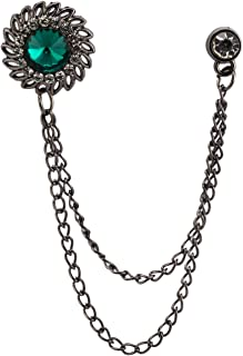 Green Stone with Inspired Swarovski Detailing Hanging Chain Lapel Pin/Brooch for Men