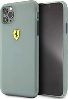 ferrari On Track Transparent Silicone Case with Printed Logo for iPhone 11 Pro Max - Green