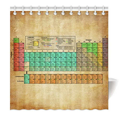YISUMEI Hem Gewichte Vorhang Duschvorhang Mode Duschvorhänge 180x180 cm Retro Periodensystem der chemischen Elemente