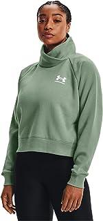 Under Armour Women's Rival Fleece Wrap Neck Pullover , Silica Green (348)/White , X-Large