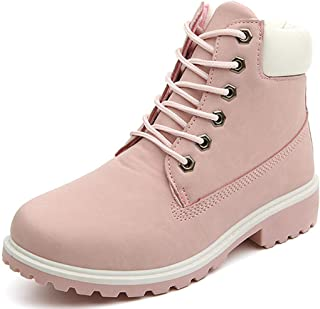 Women's Concise Lace Up Low Heel Ankle Booties Ladies Comfortable Walking Combat Martin Boots