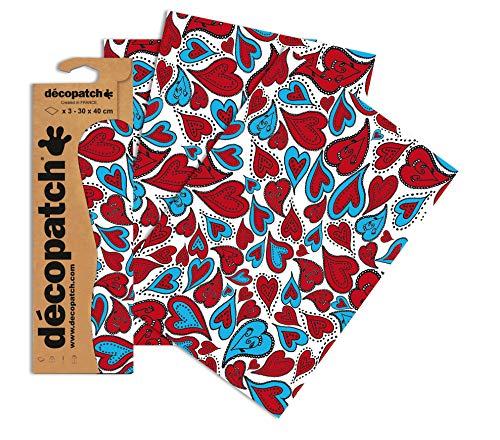 Decopatch Papier No. 567 (rot blau Herzen, 395 x 298 mm) 3er Pack