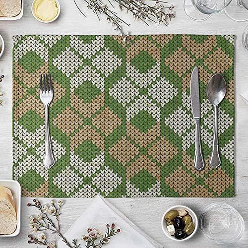 AMDXD Manteles Individuales Juego 4, Geométrico Tapete Mesa para Cocina Comedor (Café), Algodon Lino, 42x32cm, Verde Marrón