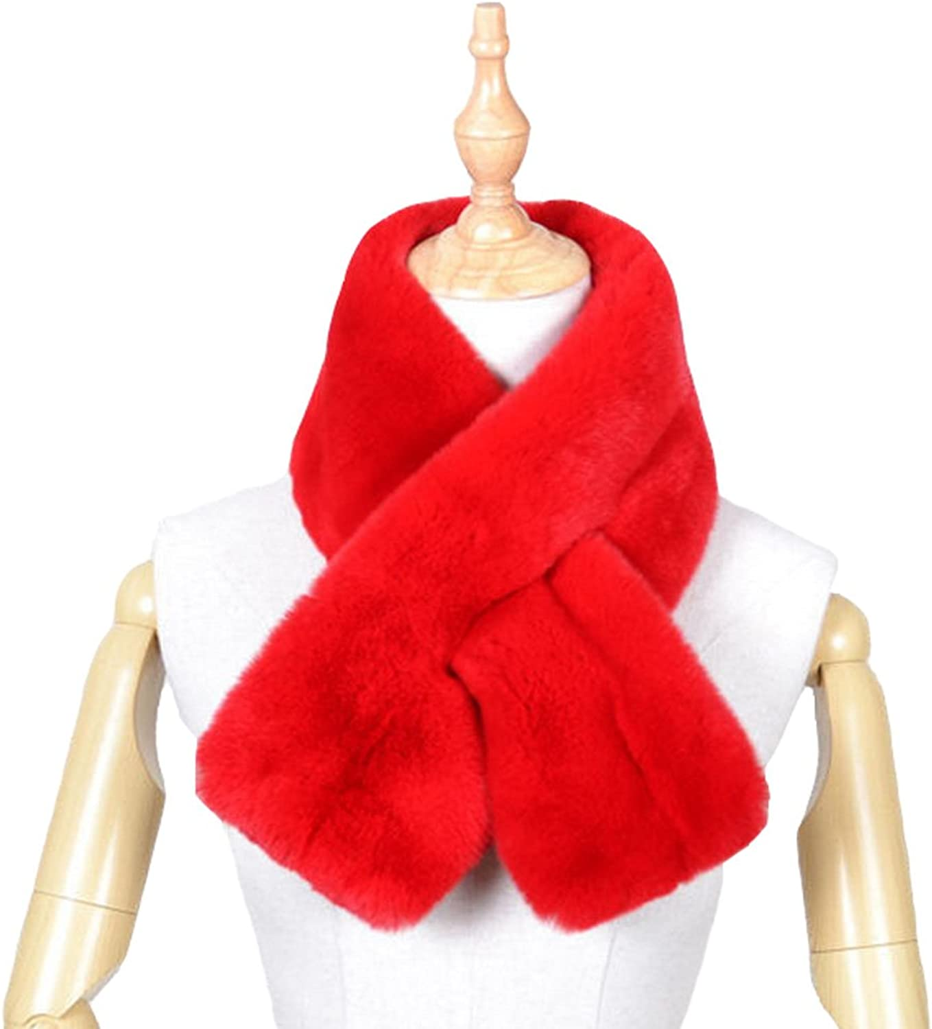 Womens Knitted Rex Rabbit Fur PullThrough Neck Warmer Wrap Scarf