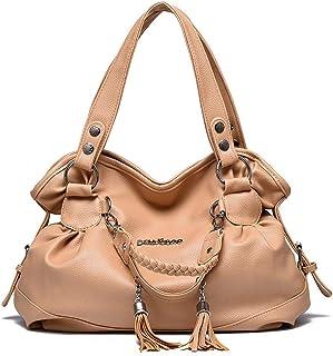 AlwaySky Damen Top-Griff Handtaschen, Super Soft Leder Schultertasche mit Quaste Klassische Freizeit Tote für Damen Damen