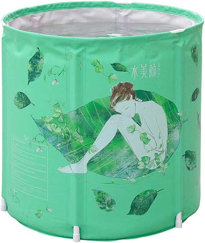 Bathtubs Soaking Baths Home folding bath bucket adult plastic bucket portable (color   Green, Size   70cm 27.6inch)