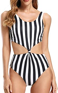 Dixperfect Women's Twist High Waist One Piece Swimsuit Knot Front Cut Out Beach Bathing Suit