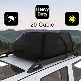 Oanon 20 Cubic Car Cargo Roof Bag - Waterproof Duty Car Roof Top Carrier - Easy to Install Soft Rooftop Luggage Carriers with Wide Straps 20 Cubic Feet (Thickened - 20 Cubic)
