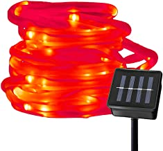 Ruichen Solar Powered String Light,16.5FT 50 LED Strip Rope Tube Fairy Lights Waterproof Outdoor Garden Wedding Party Christmas Xmas Decoration(Red)