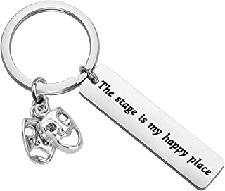 Lywjyb Birdgot Performer Gift Broadway Play Performer Gift Musical Lovers Gifts The Stage is My Happy Place Keychain Gift for Performer Musician Pianist Singer Dancer
