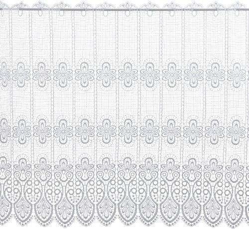 Plauener Spitze by Modespitze 68450_83, Tendine in Pizzo, 100% Poliestere, Altezza 83 cm, Bianco, Larghezza: 176 cm