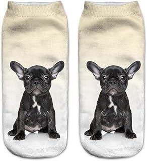 Calcetines Tobilleros 3D Black French Bulldog Puppy 3D Print Animal Mujeres Calcetines Calcetines Casuales De Dibujos Animados Unisex Calcetines De Corte Bajo